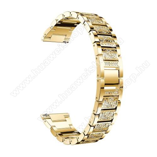 HUAWEI Watch GT 46mmOkosóra szíj - ARANY - rozsdamentes acél, strassz köves minta, 22mm széles, 170-220mm-ig állítható - HUAWEI Watch GT / SAMSUNG Gear S2 (SM-R720) / HUAWEI Watch GT 2 46mm