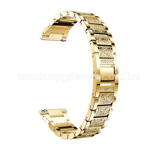 Okosóra szíj - ARANY - rozsdamentes acél, strassz köves minta, 22mm széles, 170-220mm-ig állítható - HUAWEI Watch GT / SAMSUNG Gear S2 (SM-R720) / HUAWEI Watch GT 2 46mm