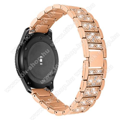 Okosóra szíj - ARANY - rozsdamentes acél, strassz köves, 22mm széles -  HUAWEI Watch GT / HUAWEI Watch Magic / Watch GT 2 46mm / Honor MagicWatch 2 46mm