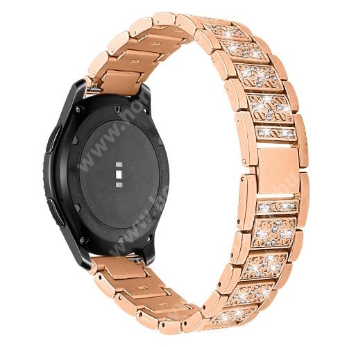 HUAWEI Watch Magic Okosóra szíj - ARANY - rozsdamentes acél, strassz köves, 22mm széles -  HUAWEI Watch GT / HUAWEI Watch Magic / Watch GT 2 46mm / Honor MagicWatch 2 46mm