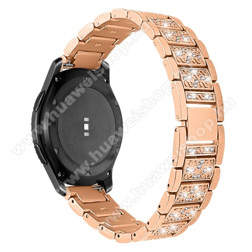 HUAWEI Watch MagicOkosóra szíj - ARANY - rozsdamentes acél, strassz köves, 22mm széles -  HUAWEI Watch GT / HUAWEI Watch Magic / Watch GT 2 46mm / Honor MagicWatch 2 46mm