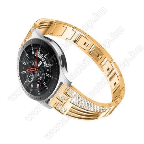 Okosóra szíj - ARANY - rozsdamentes acél, strasszkővel díszített, 180mm hosszú, 22mm széles - HUAWEI Watch GT / SAMSUNG Gear S2 (SM-R720) / HUAWEI Watch GT 2 46mm