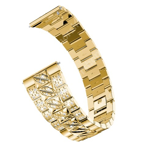 Okosóra szíj - ARANY - rozsdamentes acél, strassz köves, 22mm széles - SAMSUNG Galaxy Watch 46mm / SAMSUNG Gear S3 Classic / Gear S3 Frontier / Honor MagicWatch 2 46mm