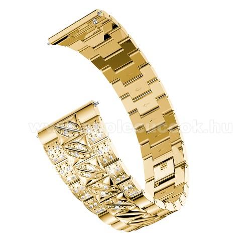 Okosóra szíj - ARANY - rozsdamentes acél, strasszkővel díszített, 22mm széles - SAMSUNG Galaxy Watch 46mm / SAMSUNG Gear S3 Classic / Gear S3 Frontier / Honor MagicWatch 2 46mm