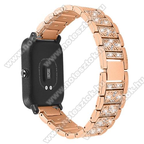 WOTCHI SmartWatch W22SOkosóra szíj - ARANY - rozsdamentes acél, strasszkővel díszített, 20mm széles - SAMSUNG Galaxy Watch 42mm / Xiaomi Amazfit GTS / HUAWEI Watch GT 2 42mm / Galaxy Watch Active / Active 2