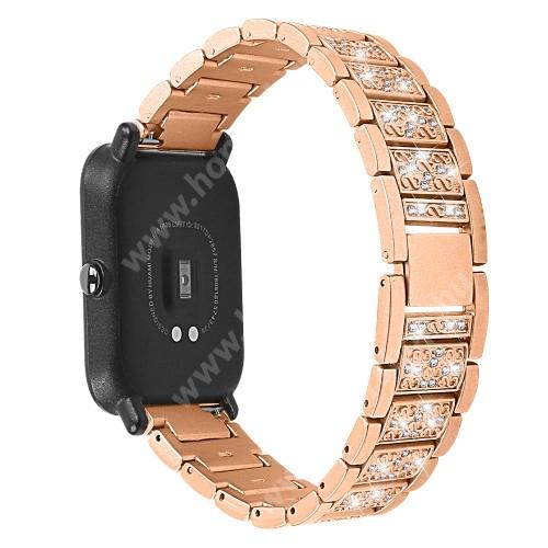 HUAWEI Honor MagicWatch 2 42mm Okosóra szíj - ARANY - rozsdamentes acél, strasszkővel díszített, 20mm széles - SAMSUNG Galaxy Watch 42mm / Xiaomi Amazfit GTS / HUAWEI Watch GT 2 42mm / Galaxy Watch Active / Active 2