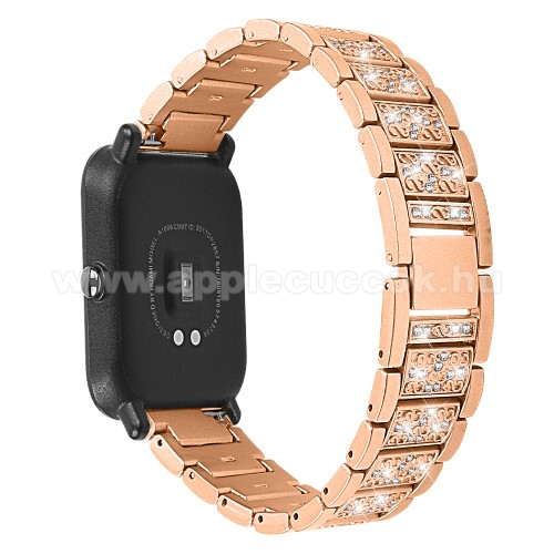 Okosóra szíj - ARANY - rozsdamentes acél, strasszkővel díszített, 20mm széles - SAMSUNG Galaxy Watch 42mm / Xiaomi Amazfit GTS / HUAWEI Watch GT 2 42mm / Galaxy Watch Active / Active 2