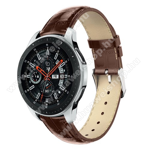 Okosóra szíj - BARNA - Krokodilbőr minta, Valódi bőr, 120mm + 80mm hosszú, 22mm széles, max 210mm-es csuklóra - SAMSUNG Galaxy Watch 46mm / SAMSUNG Gear S3 Classic / SAMSUNG Gear S3 Frontier
