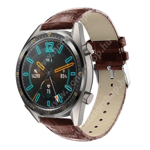 Okosóra szíj - BARNA - Krokodilbőr mintás, valódi bőr - 120 + 80mm hosszú, 22mm széles, 140-210mm-es csuklóig ajánlott - SAMSUNG Galaxy Watch 46mm / SAMSUNG Gear S3 Classic / Gear S3 Frontier / Honor MagicWatch 2 46mm