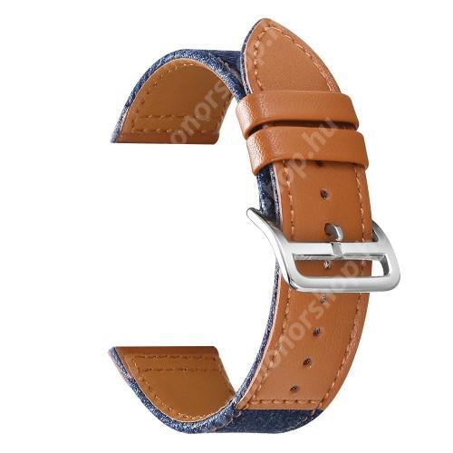 Okosóra szíj - BARNA / SÖTÉTKÉK - szövet / PU bőrrel bevont - 89mm + 105mm hosszú, 22mm széles, 160-220mm-es átmérőjű csuklóméretig - SAMSUNG Galaxy Watch 46mm / Watch GT2 46mm / Watch GT 2e / Galaxy Watch3 45mm / Honor MagicWatch 2 46mm