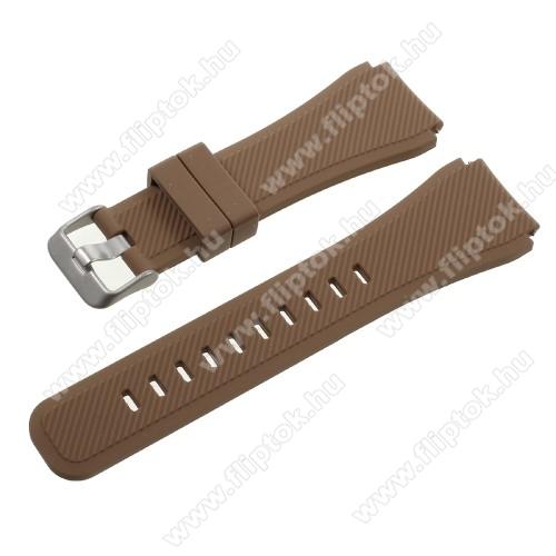 ZTE Watch GTOkosóra szíj - BARNA - szilikon - 90 + 103mm hosszú, 22mm széles - SAMSUNG Galaxy Watch 46mm / SAMSUNG Gear S3 Classic / SAMSUNG Gear S3 Frontier