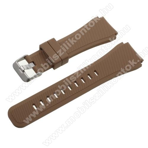 Okosóra szíj - BARNA - szilikon - 90 + 103mm hosszú, 22mm széles - SAMSUNG Galaxy Watch 46mm / SAMSUNG Gear S3 Classic / SAMSUNG Gear S3 Frontier