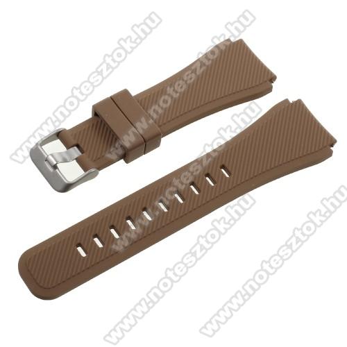 Xiaomi Mi Watch (FOR GLOBAL MARKET)Okosóra szíj - BARNA - szilikon - 90 + 103mm hosszú, 22mm széles - SAMSUNG Galaxy Watch 46mm / SAMSUNG Gear S3 Classic / SAMSUNG Gear S3 Frontier