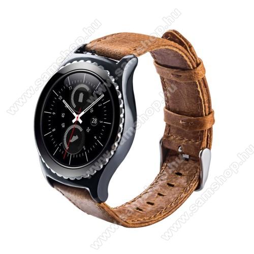 Okosóra szíj - BARNA - valódi bőr - 102mm + 82mm hosszú, 20mm széles - SAMSUNG Galaxy Watch 42mm / Xiaomi Amazfit GTS / SAMSUNG Gear S2 / HUAWEI Watch GT 2 42mm / Galaxy Watch Active / Active 2