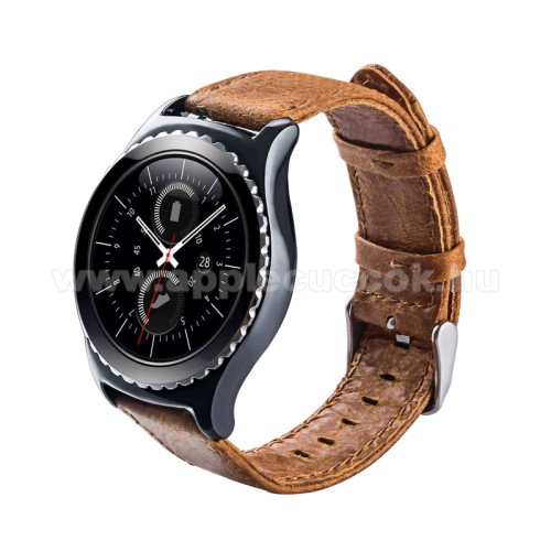 Okosóra szíj - BARNA - valódi bőr - 102mm + 82mm hosszú, 20mm széles - HUAWEI Watch 2 / SAMSUNG Galaxy Watch 42mm / Xiaomi Amazfit GTS / HUAWEI Watch GT / SAMSUNG Gear S2 / HUAWEI Watch GT 2 42mm / Galaxy Watch Active / Active  2 / Galaxy Gear Sport