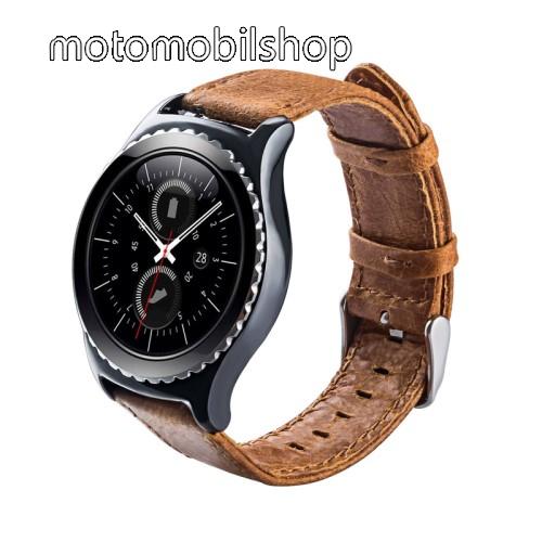 Okosóra szíj - BARNA - valódi bőr - 102mm + 82mm hosszú, 20mm széles - HUAWEI Watch 2 / SAMSUNG Galaxy Watch 42mm / Xiaomi Amazfit GTS / HUAWEI Watch GT / SAMSUNG Gear S2 / HUAWEI Watch GT 2 42mm / Galaxy Watch Active / Active  2 / Galaxy Gear Sport