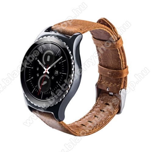 Okosóra szíj - BARNA - valódi bőr - 102mm + 82mm hosszú, 20mm széles - SAMSUNG Galaxy Watch 42mm / Xiaomi Amazfit GTS / SAMSUNG Gear S2 / HUAWEI Watch GT 2 42mm / Galaxy Watch Active / Active 2