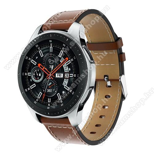 Okosóra szíj - BARNA - valódi bőr, 109mm + 83mm hosszú, 22mm széles, max 200mm-es csuklóra - SAMSUNG Galaxy Watch 46mm / SAMSUNG Gear S3 Classic / SAMSUNG Gear S3 Frontier