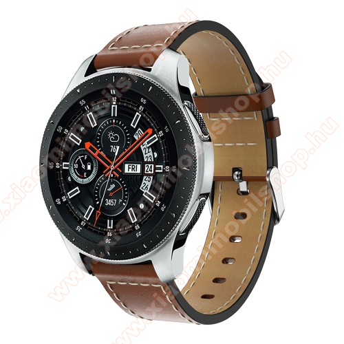 Xiaomi Amazfit GTR 47mmOkosóra szíj - BARNA - valódi bőr, 109mm + 83mm hosszú, 22mm széles, max 200mm-es csuklóra - SAMSUNG Galaxy Watch 46mm / SAMSUNG Gear S3 Classic / SAMSUNG Gear S3 Frontier