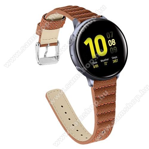 SAMSUNG Galaxy Watch3 41mm (SM-R855F)Okosóra szíj - BARNA - valódi bőr, 115+75mm hosszú, 20mm széles - SAMSUNG Galaxy Watch 42mm / Xiaomi Amazfit GTS / SAMSUNG Gear S2 / HUAWEI Watch GT 2 42mm / Galaxy Watch Active / Active 2