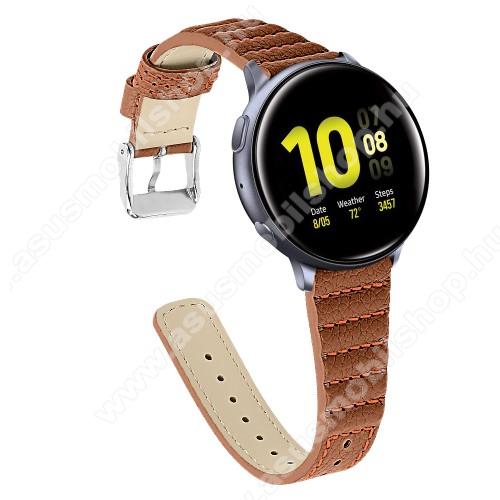 Okosóra szíj - BARNA - valódi bőr, 115+75mm hosszú, 20mm széles - SAMSUNG Galaxy Watch 42mm / Xiaomi Amazfit GTS / SAMSUNG Gear S2 / HUAWEI Watch GT 2 42mm / Galaxy Watch Active / Active 2