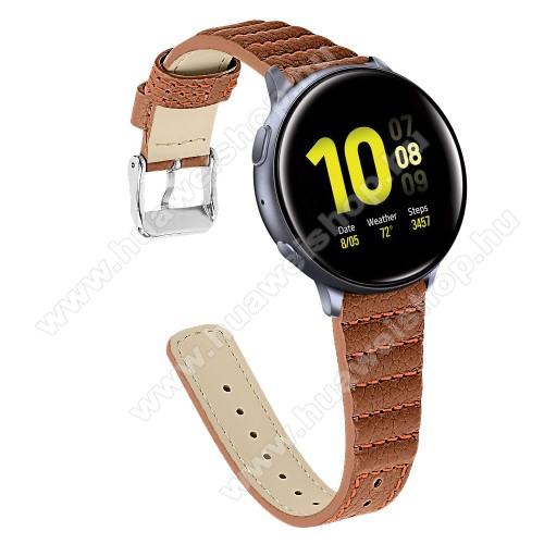 HUAWEI Honor MagicWatch 2 42mmOkosóra szíj - BARNA - valódi bőr, 115+75mm hosszú, 20mm széles - SAMSUNG Galaxy Watch 42mm / Xiaomi Amazfit GTS / SAMSUNG Gear S2 / HUAWEI Watch GT 2 42mm / Galaxy Watch Active / Active 2