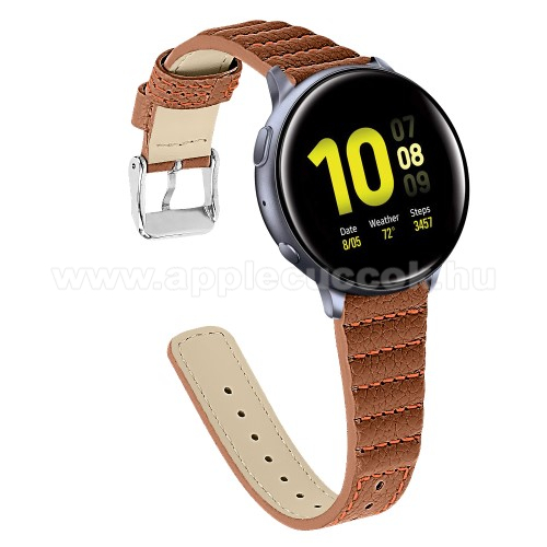 Okosóra szíj - BARNA - valódi bőr, 115+75mm hosszú, 20mm széles - SAMSUNG Galaxy Watch 42mm / Xiaomi Amazfit GTS / HUAWEI Watch GT / SAMSUNG Gear S2 / HUAWEI Watch GT 2 42mm / Galaxy Watch Active / Active  2 / Galaxy Gear Sport