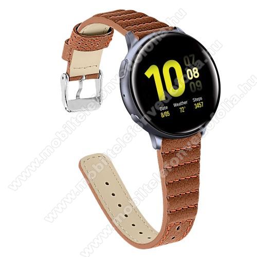 Garmin VenuOkosóra szíj - BARNA - valódi bőr, 115+75mm hosszú, 20mm széles - SAMSUNG Galaxy Watch 42mm / Xiaomi Amazfit GTS / SAMSUNG Gear S2 / HUAWEI Watch GT 2 42mm / Galaxy Watch Active / Active 2