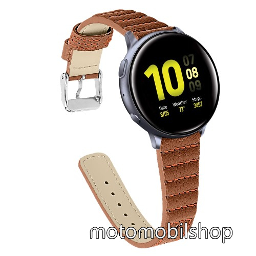 Okosóra szíj - BARNA - valódi bőr, 115+75mm hosszú, 20mm széles - SAMSUNG Galaxy Watch 42mm / Xiaomi Amazfit GTS / HUAWEI Watch GT / SAMSUNG Gear S2 / HUAWEI Watch GT 2 42mm / Galaxy Watch Active / Active  2 / Galaxy Gear Sport
