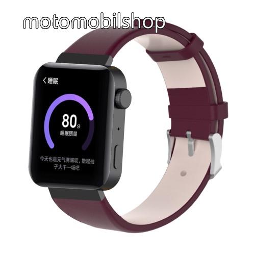 Okosóra szíj - BARNA - valódi bőr - 18mm széles, 155-198mm átmérőjű csuklóméretig - Xiaomi Mi Watch / Fitbit Charge 3 / Fossil Gen 4 / HUAWEI TalkBand B5
