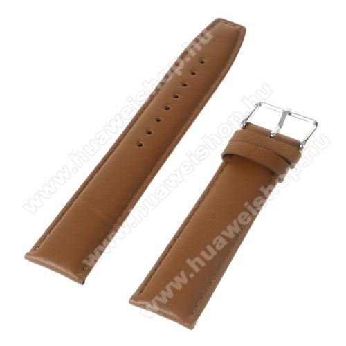 HUAWEI Watch 2Okosóra szíj - BARNA - valódi bőr, 22mm széles - Samsung Gear 2 R380 / Samsung Gear 2 Neo R381 / SAMSUNG SM-R770 Gear S3 Classic / LG G Watch W100 / LG G Watch R W110 / Asus Zenwatch / HUAWEI Watch 2