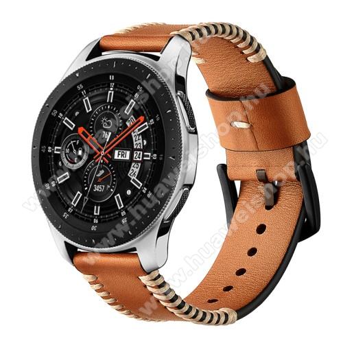 Okosóra szíj - BARNA - valódi bőr - 75 + 125mm hosszú, 20mm széles - SAMSUNG SM-R500 Galaxy Watch Active / SAMSUNG Galaxy Watch Active2 40mm / SAMSUNG Galaxy Watch Active2 44mm
