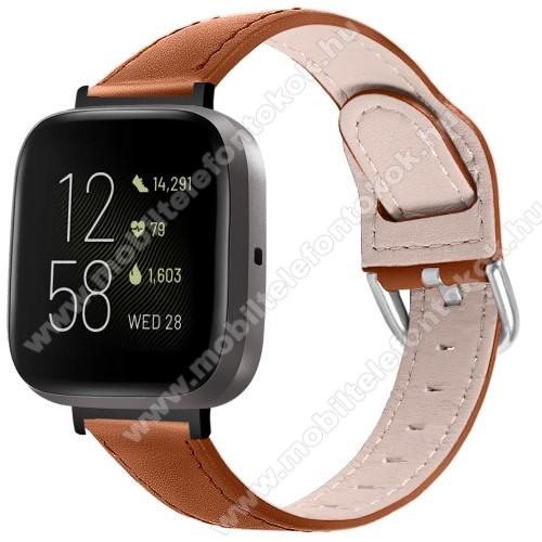 Fitbit Versa 3Okosóra szíj - BARNA - valódi bőr - 75mm + 115mm hosszú, 22.5mm széles, 144-200mm-es átmérőjű csuklóméretig ajánlott - Fitbit Versa 3 / Fitbit Sense