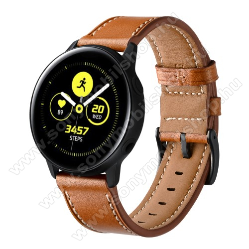 Okosóra szíj - BARNA - valódi bőr - 80mm + 120mm hosszú, 20mm széles - SAMSUNG Galaxy Watch 42mm / Xiaomi Amazfit GTS / SAMSUNG Gear S2 / HUAWEI Watch GT 2 42mm / Galaxy Watch Active / Active 2