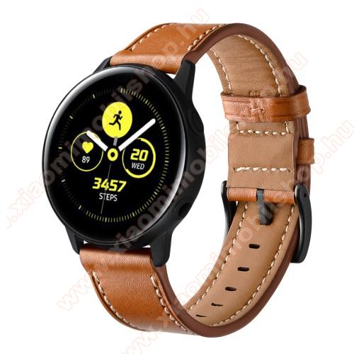 Xiaomi Amazfit GTR 42mmOkosóra szíj - BARNA - valódi bőr - 80mm + 120mm hosszú, 20mm széles - SAMSUNG Galaxy Watch 42mm / Xiaomi Amazfit GTS / HUAWEI Watch GT / SAMSUNG Gear S2 / HUAWEI Watch GT 2 42mm / Galaxy Watch Active / Active 2