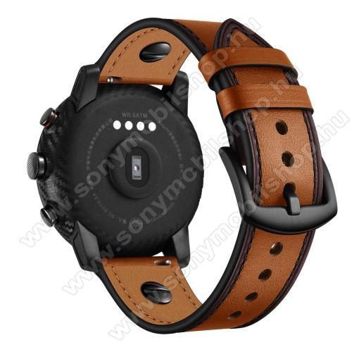 Okosóra szíj - BARNA - valódi bőr - 80mm + 120mm hosszú, 22mm széles - HUAWEI Watch GT / HUAWEI Watch Magic / Watch GT 2 46mm / Watch GT 2e