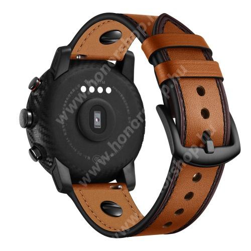 HUAWEI Watch GT 46mm Okosóra szíj - BARNA - valódi bőr - 80mm + 120mm hosszú, 22mm széles - HUAWEI Watch GT / HUAWEI Watch Magic / Watch GT 2 46mm / Watch GT 2e