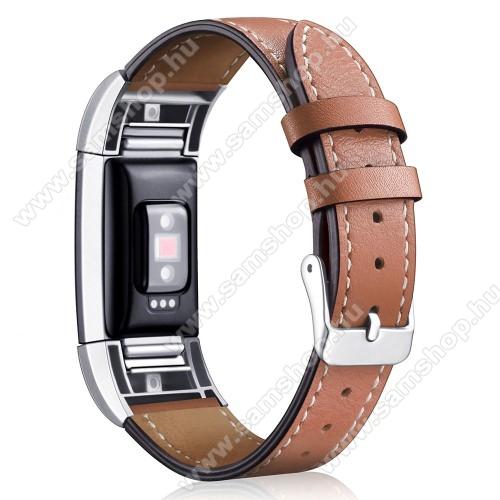 Okosóra szíj - BARNA - valódi bőr, 90mm + 105mm hosszú, 22mm széles - Fitbit Charge 2