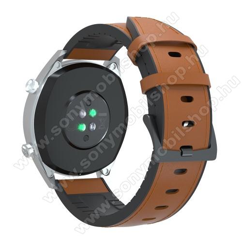 Okosóra szíj - BARNA - valódi bőr / szilikon - 90mm + 125mm hosszú, 20mm széles, 145-205mm-es átmérőjű csuklóméretig - SAMSUNG Galaxy Watch 42mm / Xiaomi Amazfit GTS / SAMSUNG Gear S2 / HUAWEI Watch GT 2 42mm / Galaxy Watch Active / Active 2