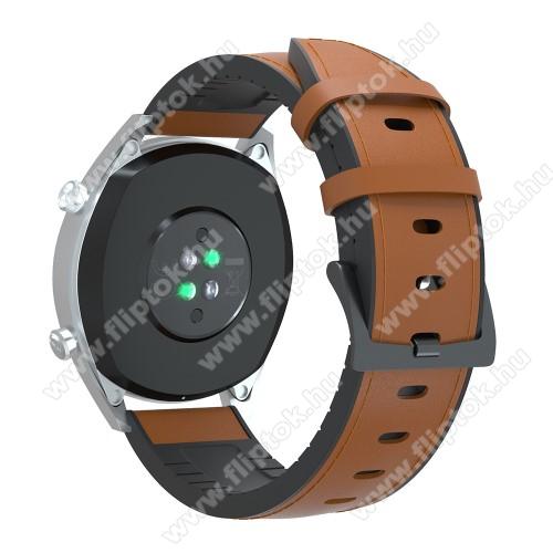 EVOLVEO SPORTWATCH M1SOkosóra szíj - BARNA - valódi bőr / szilikon - 90mm + 125mm hosszú, 20mm széles, 145-205mm-es átmérőjű csuklóméretig - SAMSUNG Galaxy Watch 42mm / Xiaomi Amazfit GTS / SAMSUNG Gear S2 / HUAWEI Watch GT 2 42mm / Galaxy Watch Active / Active 2