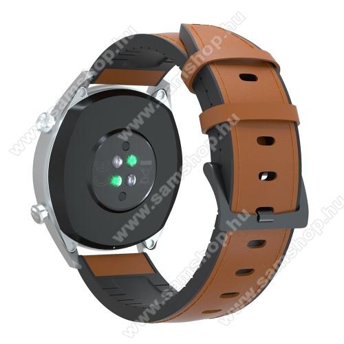 SAMSUNG Galaxy Watch Active2 44mmOkosóra szíj - BARNA - valódi bőr / szilikon - 90mm + 125mm hosszú, 20mm széles, 145-205mm-es átmérőjű csuklóméretig - SAMSUNG Galaxy Watch 42mm / Xiaomi Amazfit GTS / SAMSUNG Gear S2 / HUAWEI Watch GT 2 42mm / Galaxy Watch Active / Active 2