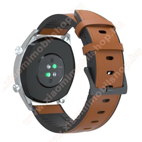 Xiaomi Amazfit GTSOkosóra szíj - BARNA - valódi bőr / szilikon - 90mm + 125mm hosszú, 20mm széles, 145-205mm-es átmérőjű csuklóméretig - SAMSUNG Galaxy Watch 42mm / Xiaomi Amazfit GTS / SAMSUNG Gear S2 / HUAWEI Watch GT 2 42mm / Galaxy Watch Active / Active 2
