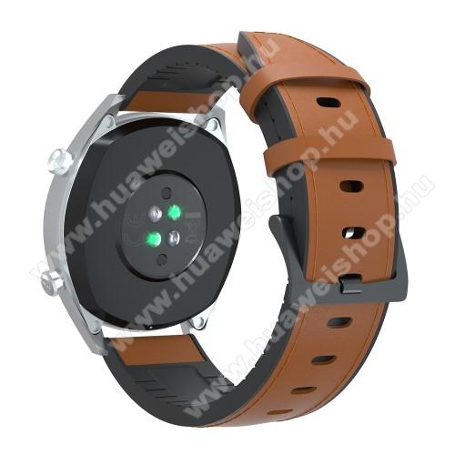 HUAWEI Honor MagicWatch 2 42mmOkosóra szíj - BARNA - valódi bőr / szilikon - 90mm + 125mm hosszú, 20mm széles, 145-205mm-es átmérőjű csuklóméretig - SAMSUNG Galaxy Watch 42mm / Xiaomi Amazfit GTS / SAMSUNG Gear S2 / HUAWEI Watch GT 2 42mm / Galaxy Watch Active / Active 2