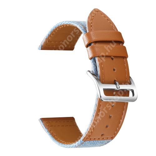 Okosóra szíj - BARNA / VILÁGOSKÉK - szövet / PU bőrrel bevont - 89mm + 105mm hosszú, 22mm széles, 160-220mm-es átmérőjű csuklóméretig - SAMSUNG Galaxy Watch 46mm / Watch GT2 46mm / Watch GT 2e / Galaxy Watch3 45mm / Honor MagicWatch 2 46mm