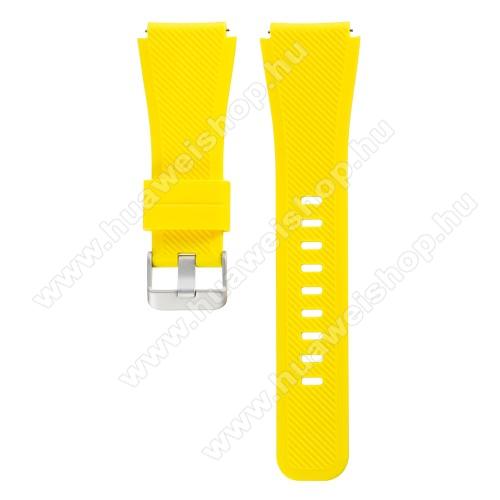 Okosóra szíj - CITROMSÁRGA - szilikon, 19cm hosszú, 22mm széles - SAMSUNG Galaxy Watch 46mm / SAMSUNG Gear S3 Classic / SAMSUNG Gear S3 Frontier