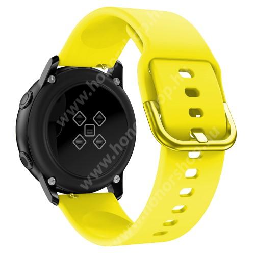 HUAWEI Watch GT 2 42mm Okosóra szíj - CITROMSÁRGA - szilikon - 83mm + 116mm hosszú, 20mm széles, 130mm-től 205mm-es méretű csuklóig ajánlott - SAMSUNG Galaxy Watch 42mm / Xiaomi Amazfit GTS / SAMSUNG Gear S2 / HUAWEI Watch GT 2 42mm / Galaxy Watch Active / Active 2