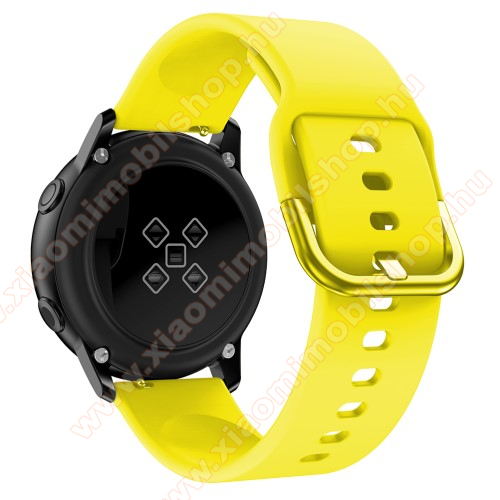Huami Amazfit Youth Edition LiteOkosóra szíj - CITROMSÁRGA - szilikon - 83mm + 116mm hosszú, 20mm széles, 130mm-től 205mm-es méretű csuklóig ajánlott - SAMSUNG Galaxy Watch 42mm / Xiaomi Amazfit GTS / SAMSUNG Gear S2 / HUAWEI Watch GT 2 42mm / Galaxy Watch Active / Active 2