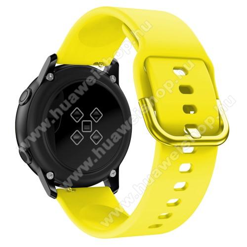 HUAWEI Watch 2Okosóra szíj - CITROMSÁRGA - szilikon - 83mm + 116mm hosszú, 20mm széles, 130mm-től 205mm-es méretű csuklóig ajánlott - SAMSUNG Galaxy Watch 42mm / Xiaomi Amazfit GTS / HUAWEI Watch GT / SAMSUNG Gear S2 / HUAWEI Watch GT 2 42mm / Galaxy Watch Active / Act