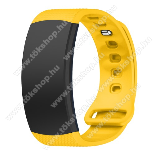 Okosóra szíj - CITROMSÁRGA - szilikon, L-es méret, 90mm+123mm hosszú, 150mm-től 213mm-es méretű csuklóig ajánlott - SAMSUNG Gear Fit 2 SM-R360 / Samsung Gear Fit 2 Pro SM-R365