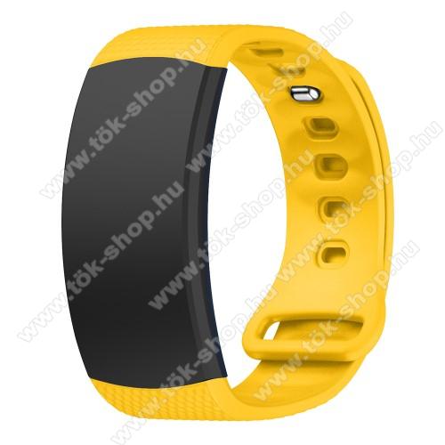 Okosóra szíj - CITROMSÁRGA - szilikon, S-es méret, 95mm+90mm hosszú, 126mm-től 175mm-es méretű csuklóig ajánlott - SAMSUNG Gear Fit 2 SM-R360 / Samsung Gear Fit 2 Pro SM-R365